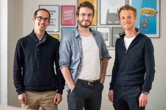 Les trois co-fondateurs d'Agicap. De gauche à droite : Sébastien Beyet, CEO - Lucas Bertola, CTO et Clément Mauguet, Chief of Global Expansion – Copyright : Agicap