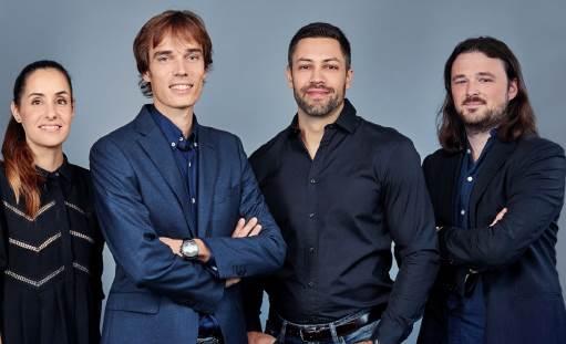 (l'équipe fondatrice de gauche à droite : Nuria Molet, Laurent Descout, Emmanuel Anton et Ian Yates)