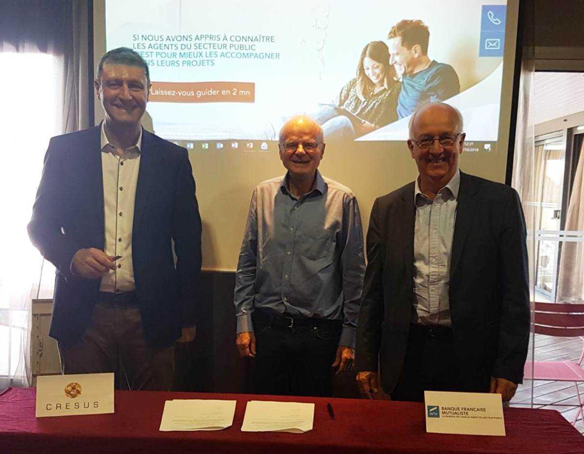 De gauche à droite : Médéric Monestier - Directeur général de la Banque Française Mutualiste ; Jean-Louis Kiehl - Président de la Fédération Crésus et  Gérard Vuidepot - Président de la Banque Française Mutualiste