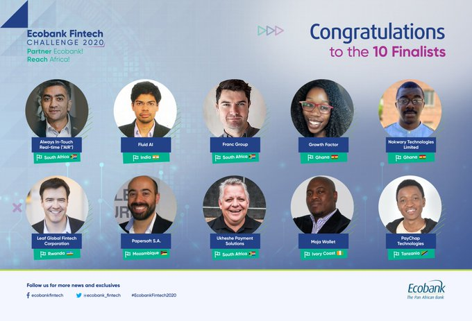 Le Groupe Ecobank annonce les lauréats de l'édition 2020 du Fintech Challenge