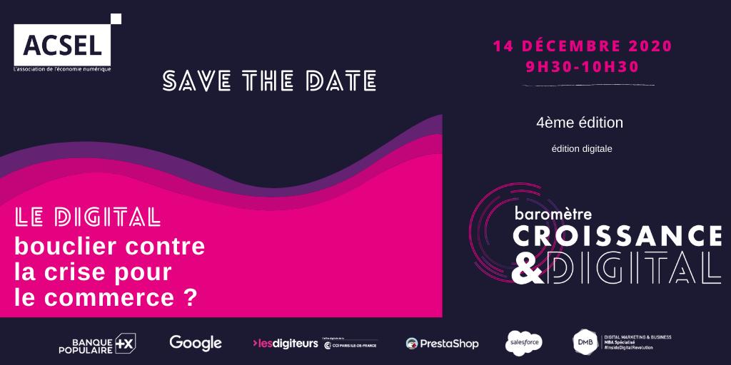 Dernier jour pour s'inscrire - 14/12  Conférence Baromètre Croissance & Digital