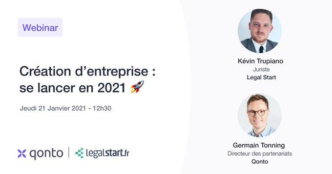 Webinar Création d'entreprise : se lancer en 2021 !